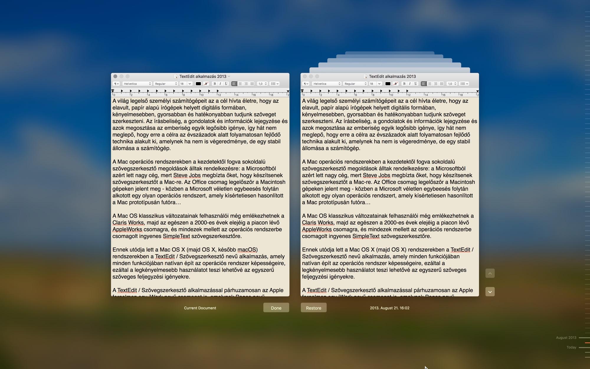 TextEdit szövegszerkesztő alkalmazás a macOS rendszerben